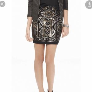 Express Black Gold Silver Sequin Mini Skirt